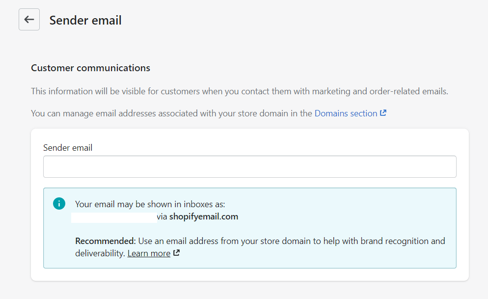 Sender email settings. You can specify a different sender email that the recipients may contact for more inquiries.