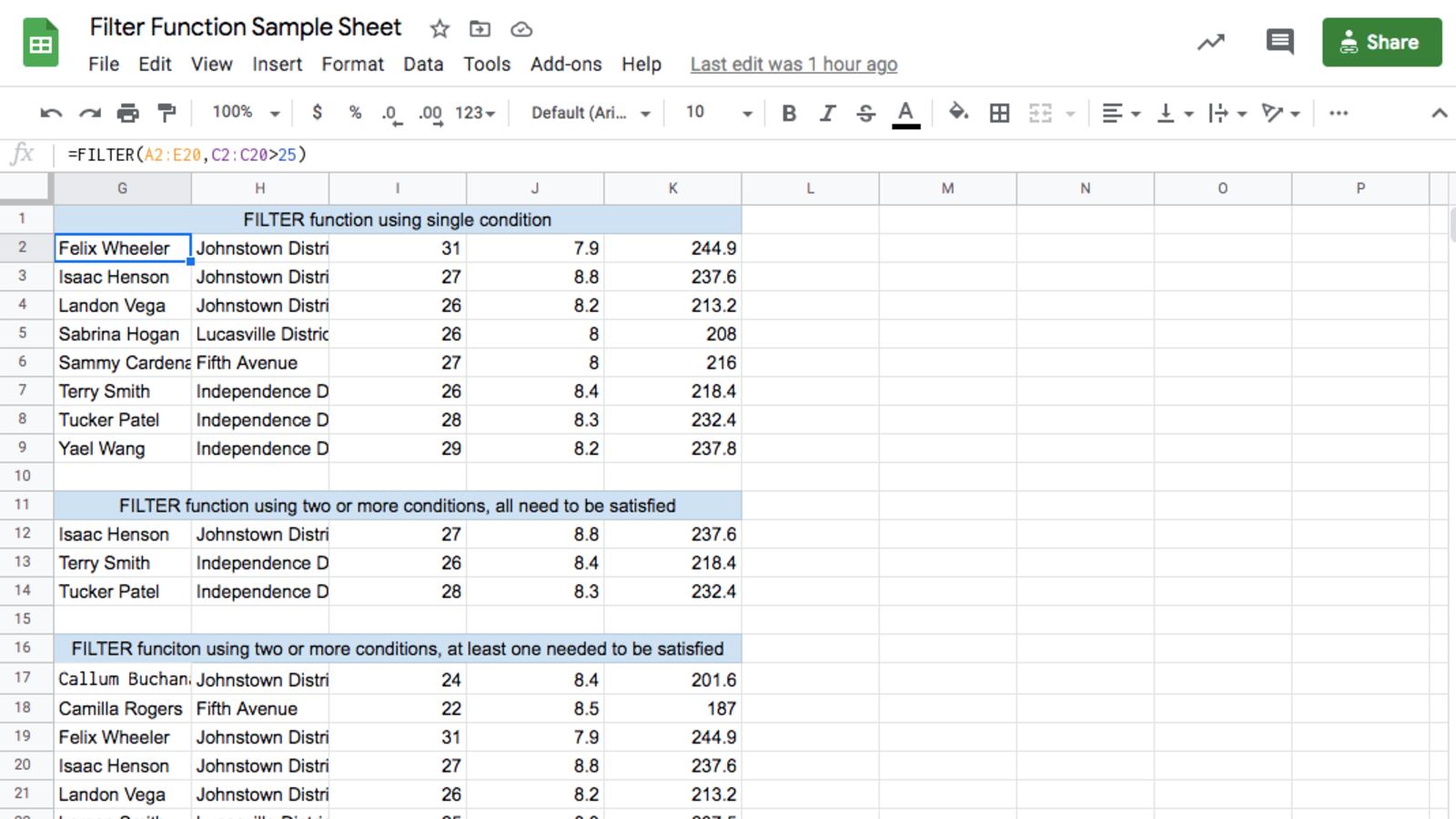 Google Sheet with FILTER function examples