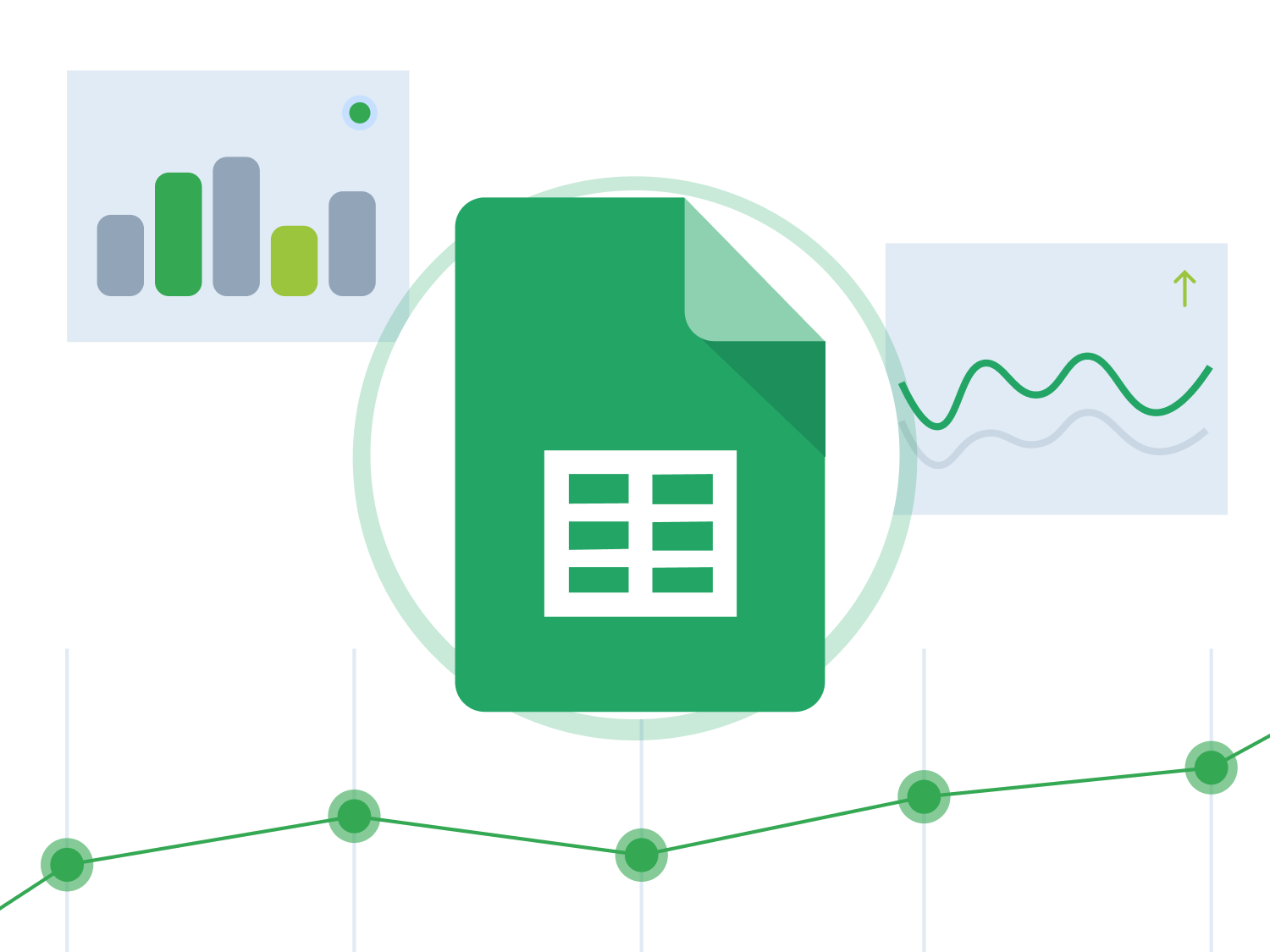 Google Sheets logo with charts in the background