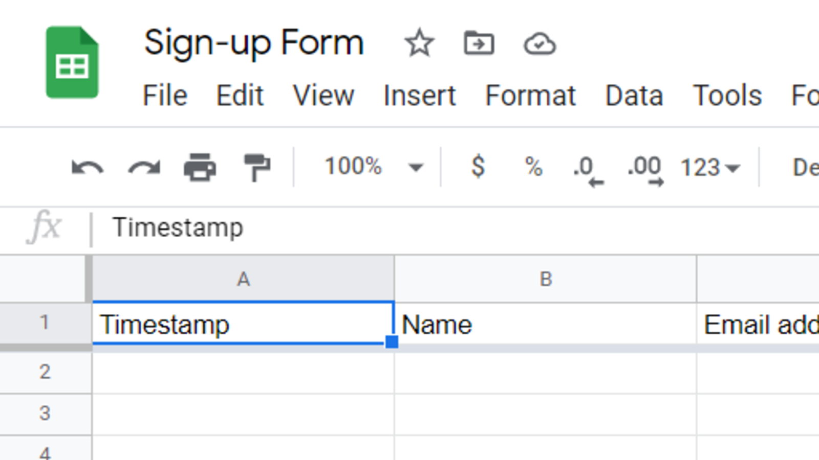 Google Sheet with the questions from a Google Form forming the top fixed row.