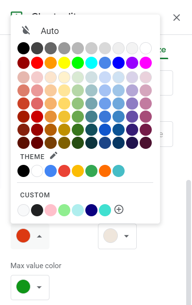 Chart editor, Customize tab: Color palette for Min value color.