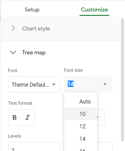 Chart editor, Customize tab: Font size option in the Tree map section.