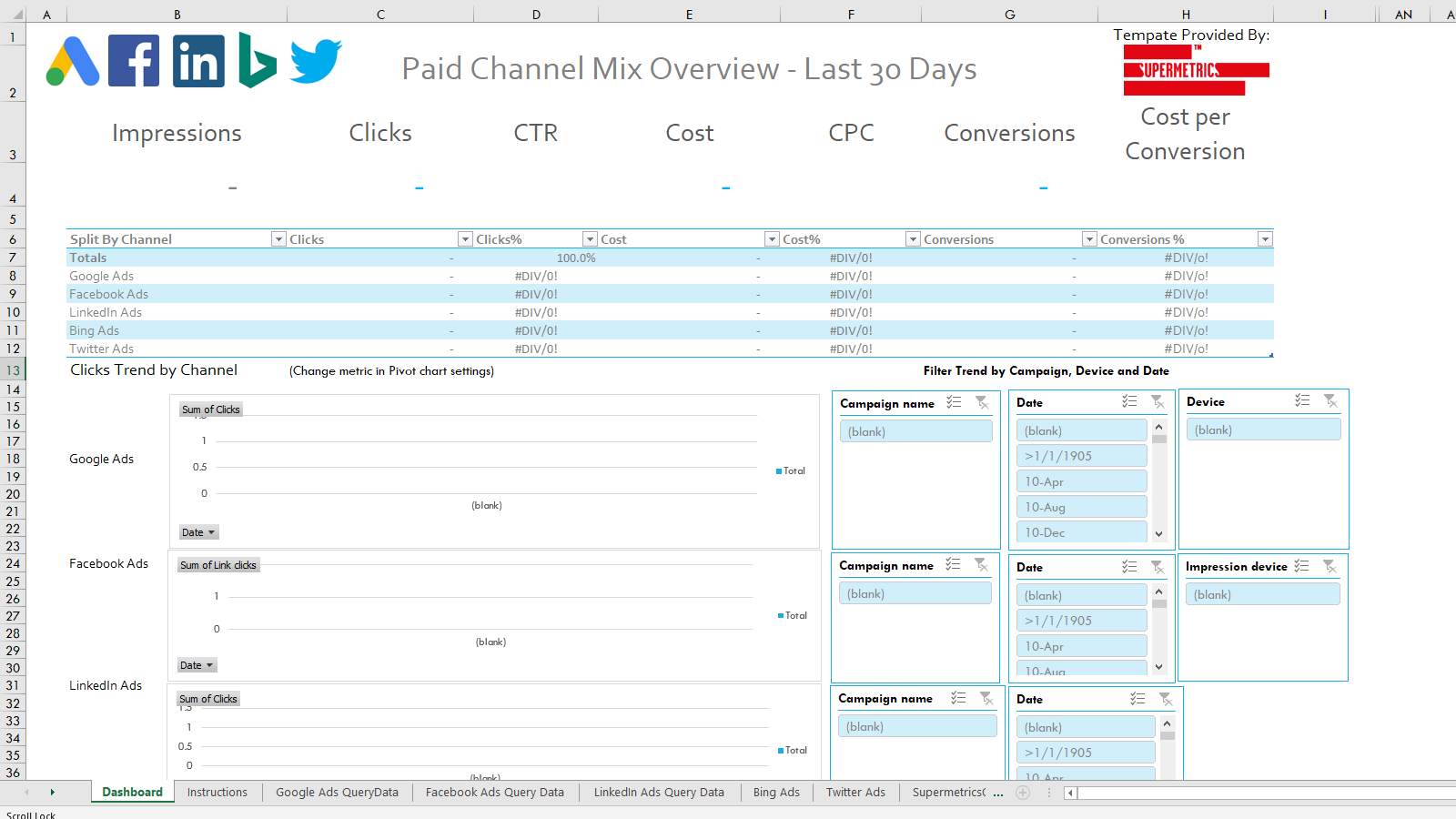 PPC Paid Channel Mix Excel Template