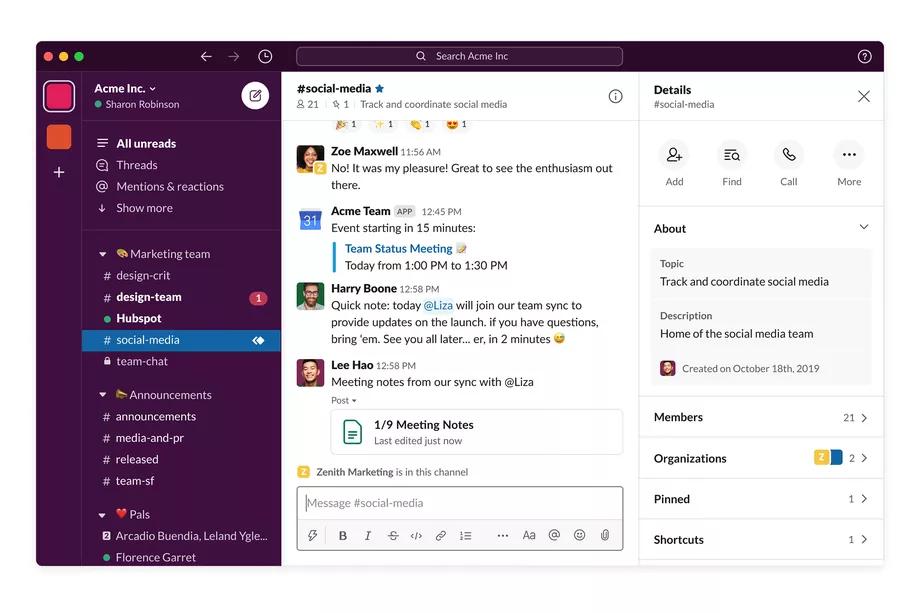 Slack is another popular B2B SaaS app for project management and collaboration.