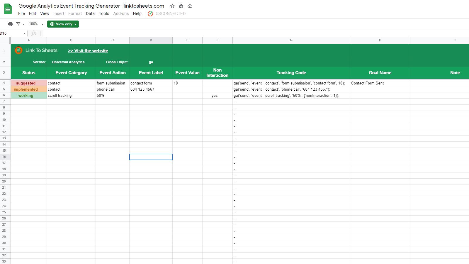 Google Analytics Event Tracking Generator