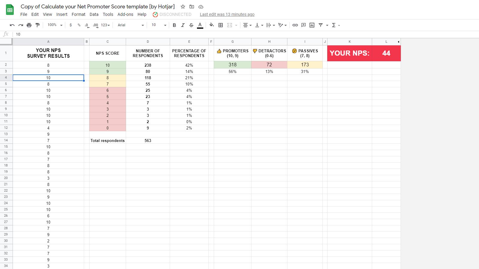 Net Promoter Score template