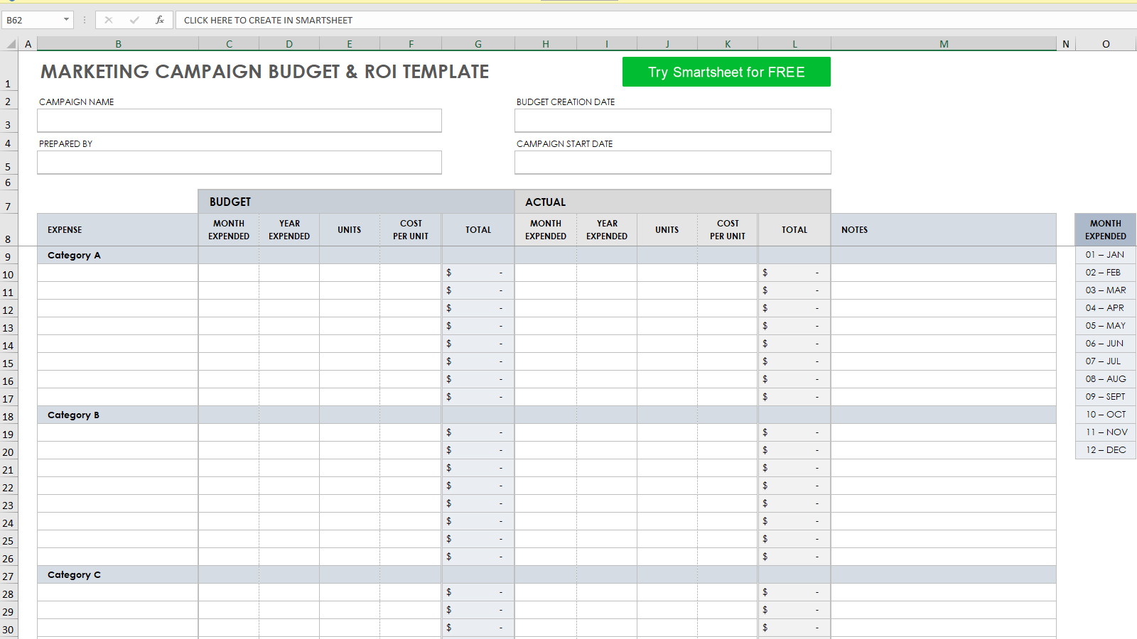 Marketing Campaign Budget and ROI Template