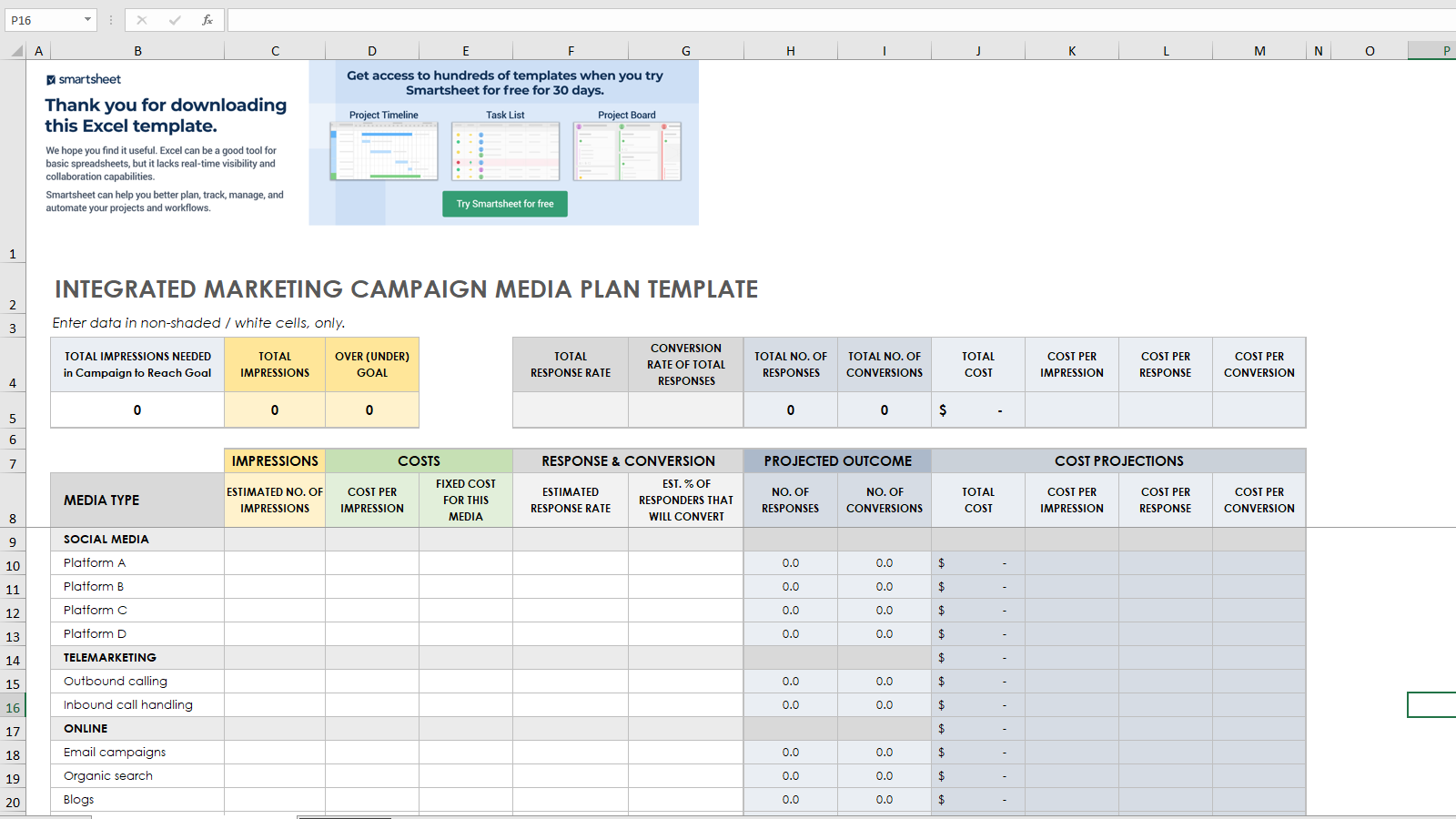 Integrated Marketing Campaign Media Plan Template