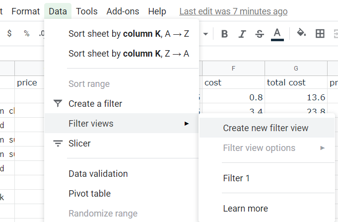 Data option in main menu, Filter views selected, Create new filter view highlighted.
