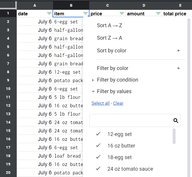 The filter by values selected. The different values in the rows listed.