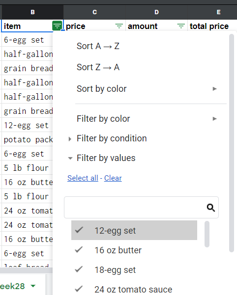 The filter options. They include ways for sorting and filtering the entries.
