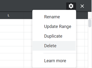 The gear symbol on the upper-right corner of the sheet clicked, the Delete option highlighted in the list.