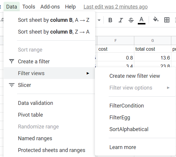 Data option in main menu, filter views selected, the existing filter views listed.