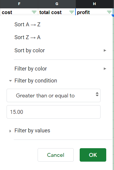 Filter by condition option selected: greater than or equal to 15.00.