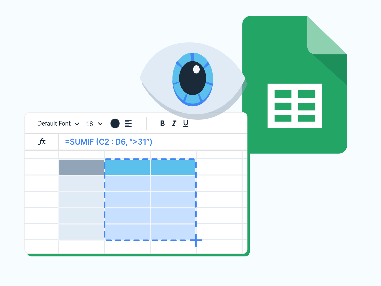 Layered image of a Google Sheet with an eye to resemble viewing.