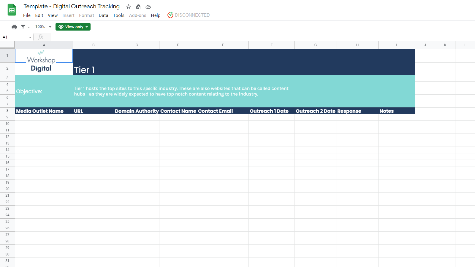 Outreach Tracking Template