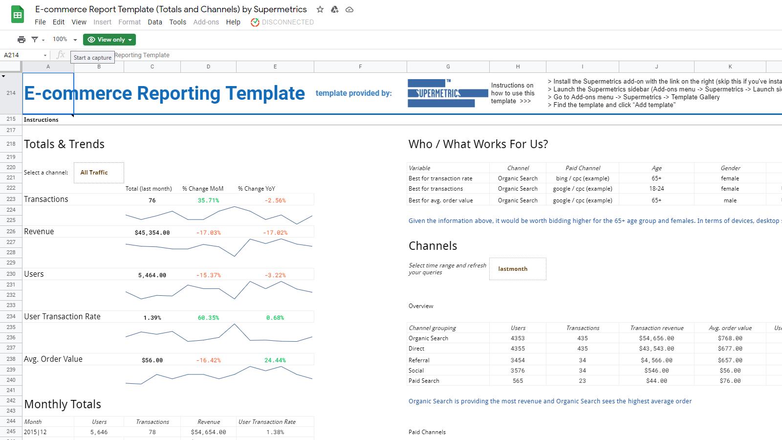 E-commerce Report Template