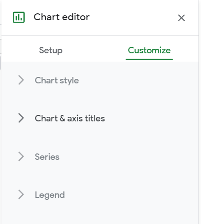 Chart editor, Customize tab. Chart & axis titles option highlighted.