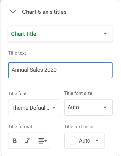 Chart & axis titles option. Chart title selected. Title text: Annual Sales 2020.