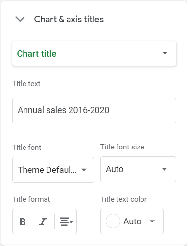 Chart & axis titles option. Chart title selected. Title text: Annual Sales 2016-2020.