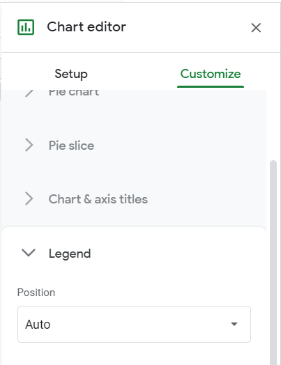 Chart editor, Customize tab. Legend option clicked.