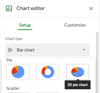 Chart editor, Setup tab, Chart type, 3d pie chart selected