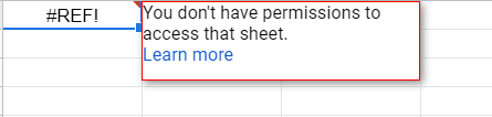 The privacy setting of the source sheet is not set to public, and that your Google account was not added to the list of users that can access it.
