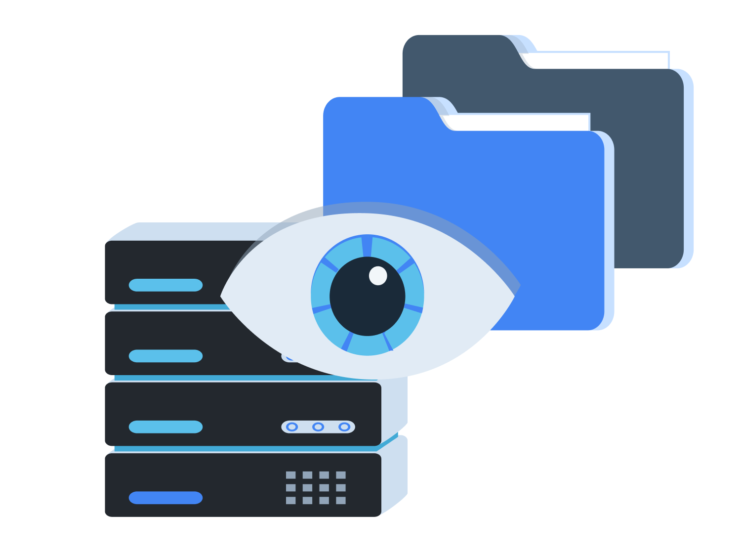 Layered image of a watchful eye in front of a database and files.