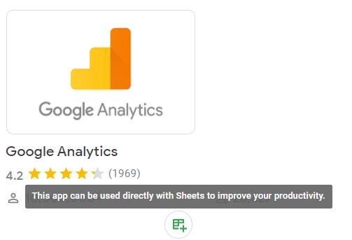 Google Analytics add-on in Google Marketplace
