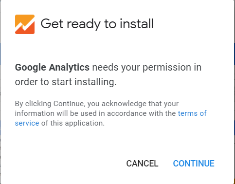 Google Analytics needs your permission before it can be installed.