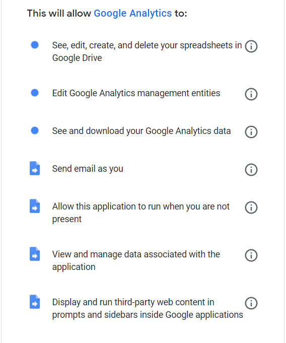 A list of permissions you need to give to Google Analytics so it can work seamlessly.