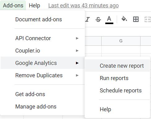 Add-ons, Google Analytics, Create new report.