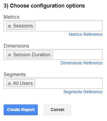 Google Analytics sidebar. Create a new report. Choose configuration options.
