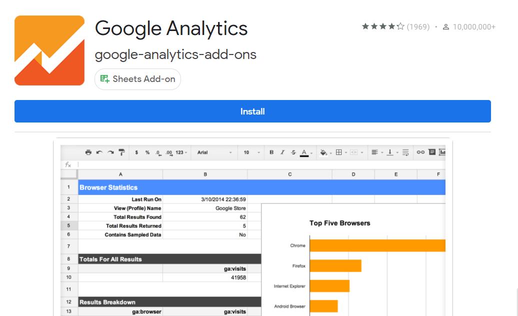 Google Analytics add-on. Install button.