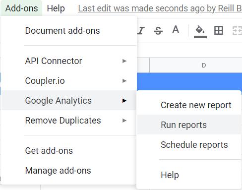 Add-ons, Google Analytics, Run reports.