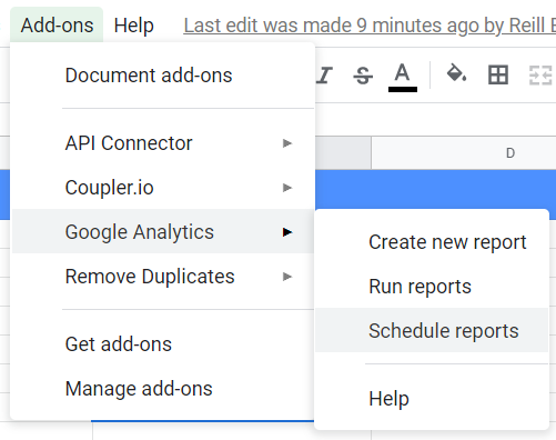 Add-ons, Google Analytics, Schedule reports.