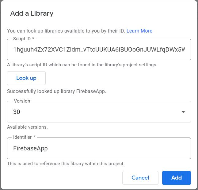 Add a library, Script ID, Version, Identifier