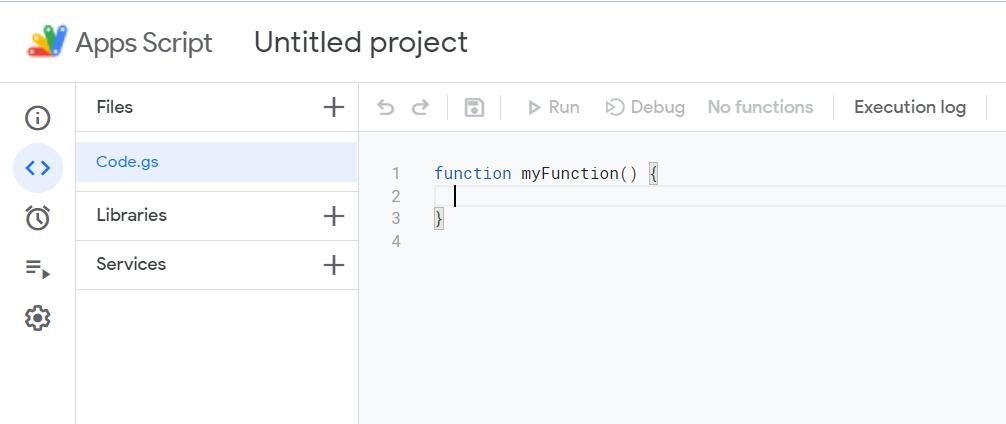 Apps script, untitled project, blank code.gs