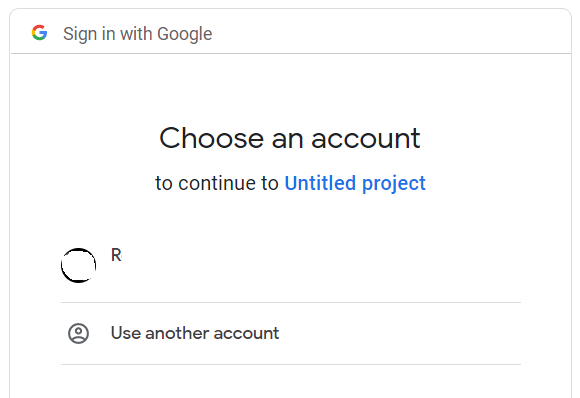 Choose an account, for selecting the Google account for access.