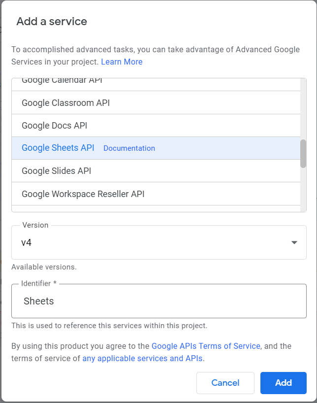 Add a service. Google Sheets API highlighted.
