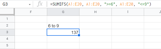 SUMIF function adding all entries with values between 6 and 9.