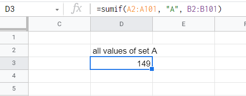 SUMIF function adding all entries that belong to set A.