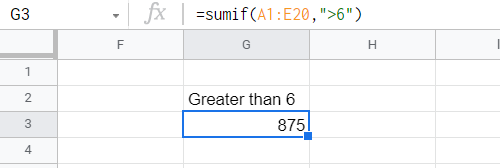 SUMIF function adding all entries with values less than 6.
