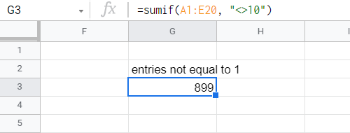 SUMIF function adding all entries with values not equal to 10.