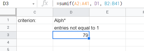 SUMIF function adding all entries that belong to the set typed in another cell.