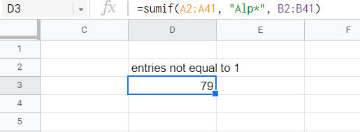 SUMIF function adding all entries that belong to the set that starts with characters Alp.