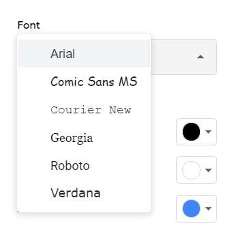 Fonts available in Google Sheets.