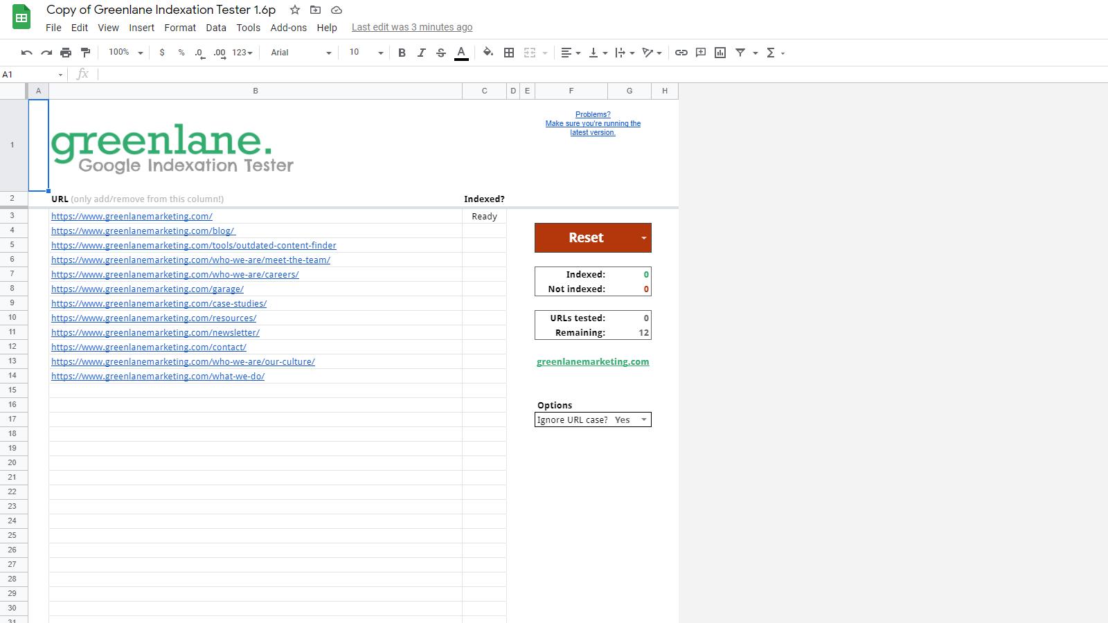 Google Indexation Tester