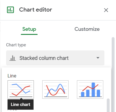 Chart editor, Setup tab, Chart type, Line chart selected