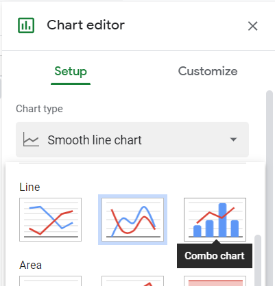 Chart editor, Setup tab, Chart type, Combo chart selected